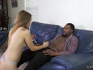 Blonde slut in high heels Nyomi Star blows and rides a big deadly dick