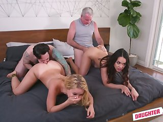 Unforgettable foursome sex with two sex-appeal and hoggish stepdaughters