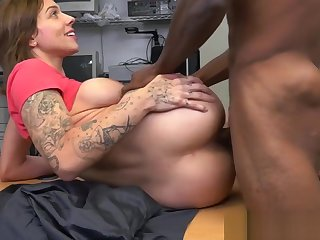 Auditioning tattooed loveliness loves black cock