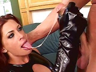MILF Aria In Tight-fisted Latex Hardcore Ass And Pussy Fuck