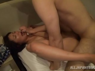 Sweet Japanese eats friend's hard cock before added to after wild sex