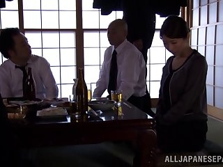 An orally gifted Japanese girls sucks parasynthetic guys at once