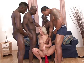 Black dudes are set almost turn tail from this blonde babe's holes