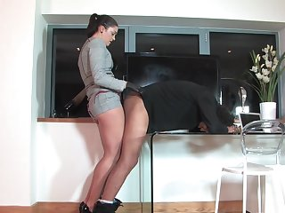Dirty mistress loves to pegg her helpless husband - Hammer away Hunteress