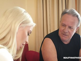 Flirty blonde unspecified Anna Riv seduces older man to be fucked cleric