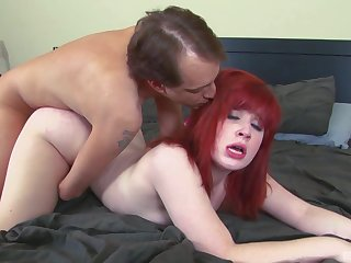 Inexpert redhead receives a big cock to suit her deep sexual desires