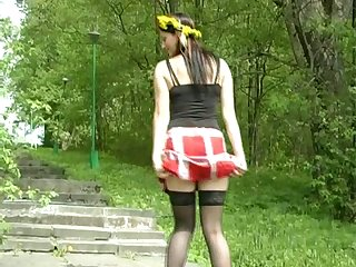 Pallid bitch in black nylon stockings is eager to decamp a return to outdoors