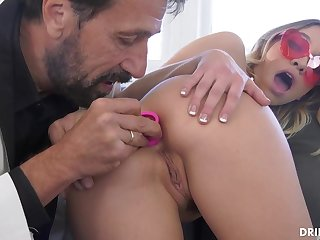 Fancy ash-blonde stunner, Khloe Kapri got plumbed in the arse, in the middle of the day