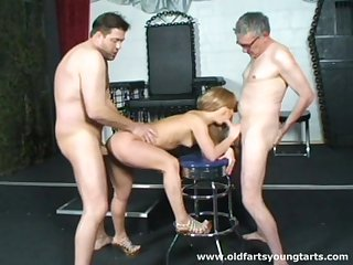 Sexy teen Simone L takes money to be fucked by two old dudes