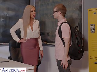 Horny nerdy MILFie tutor Nina Elle fucks well with her student on eradicate affect desk