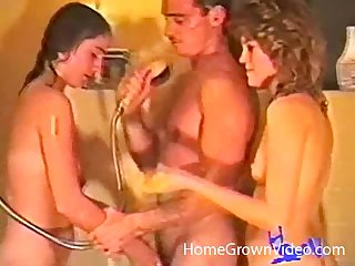 Retro blear of a unpremeditated guy fucking his wife and her best friend