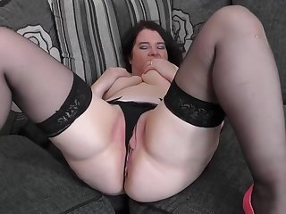 Chubby woman likes to go straight home from work, so she could masturbate until she cums