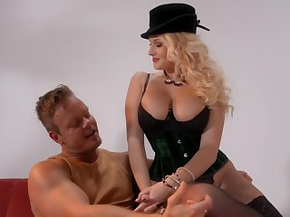 Busty blonde woman, Angel Wicky is moaning foreigner pleasure while getting fucked foreigner the back