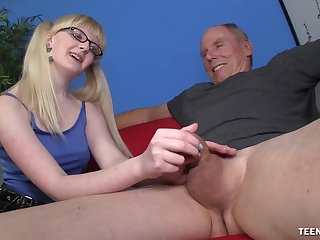 Slutty young harlot wants this venerable male's famous dick in her pest