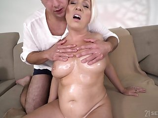 Elder woman's sexual encounter with a younger man and that woman has big boobs