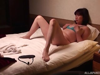 Horny Asian wife in lingerie and stockings wants to have sexual congress