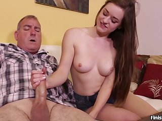Old guy receives grave handjob from slutty niece