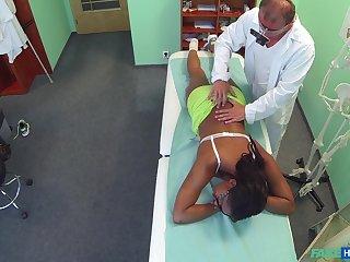 Ebony girl filmed in secret when riding her doctor's dick