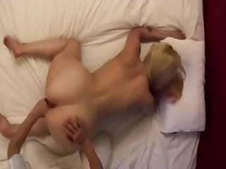 Blonde housewife love japanese massage