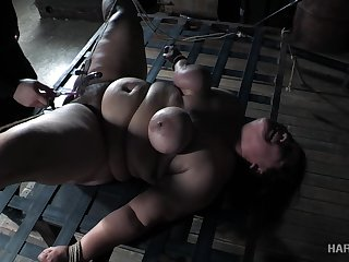Super heavy whore Karla Urgency is punished in the outrageous BDSM enclosure