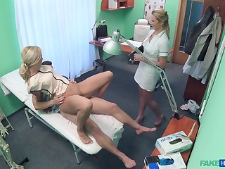 Nurse helps the doctor with this young pussy