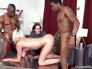 Two black guys fuck Zoe Sparx in front of her dweeb cuckold husband