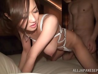 Sayuki loves teasing up her large natural tits before having sex