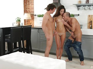 Boyfriend fucks pussy of Katty West while she sucks another man