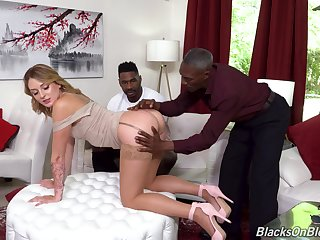 Interracial threesome with dirty cheating wife Charlotte Sins