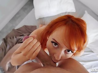 POV helter-skelter a ginger that's thirsty to swallow a lot