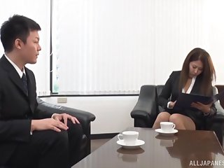 Office babe tries big Japanese cock in eradicate affect ass