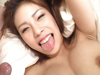 Provocative Asian chick Haruka Sanada gets fucked in shaved pussy