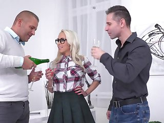 MMF threesome with reference to Christina Shine wearing a miniskirt - HD